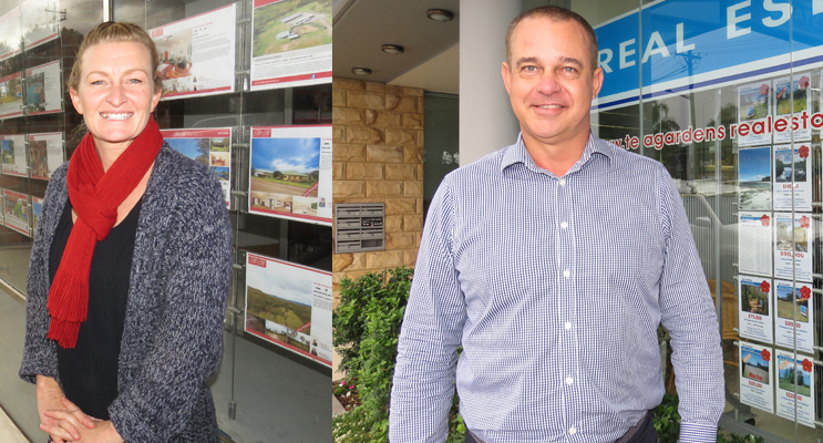 Brooke Lloyd from R&R Property said the average house price in Bulahdelah is around $310,000.  (left) James Murphy from Tea Gardens Real Estate said there has been considerable growth in the local market. (right)