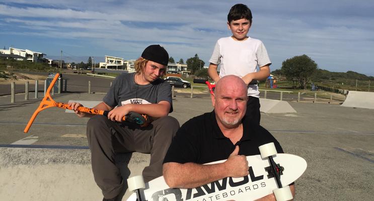 Lachlan Stuart, Chris Doohan and Mackenzie Campbell at the current Anna Bay Skate Park.  Photos by Jo Finn