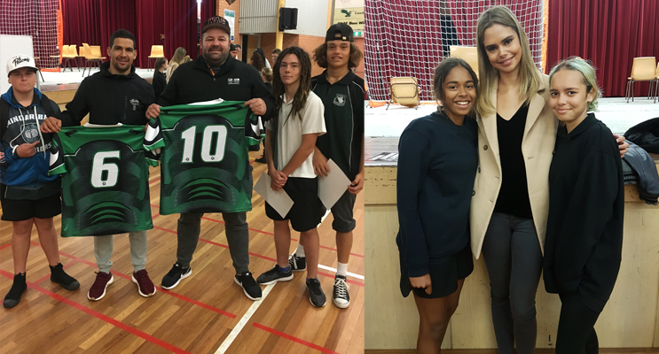 Matt, Ethan and Tykel present Irrawang Jerseys to Cody Walker and George Rose.