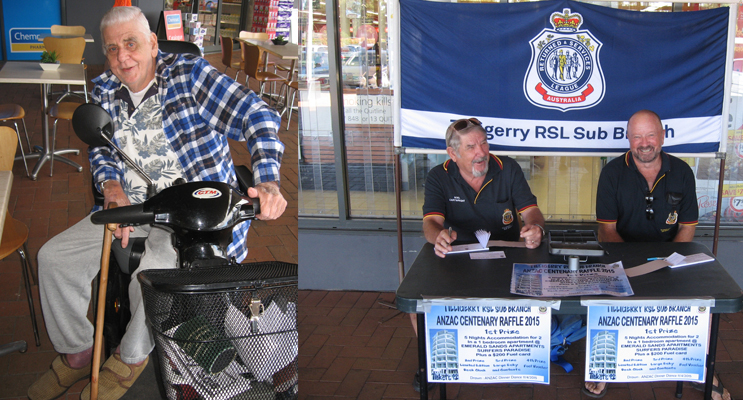Reg Bonney out and about. (left) Noel Cartwright  fundraising for our local veterans. (right)