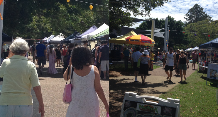 Markets on the Nelson Bay Foreshore. (left) Enjoying the Nelson Bay Foreshore Markets. Photo by Marian Sampson (right)