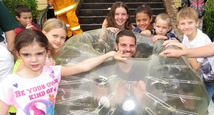 Senior Constable Ash Ray joined in a game of bubble soccer.