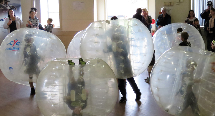 Bubble Soccer was a huge hit with children at the Blue Light Arvo.