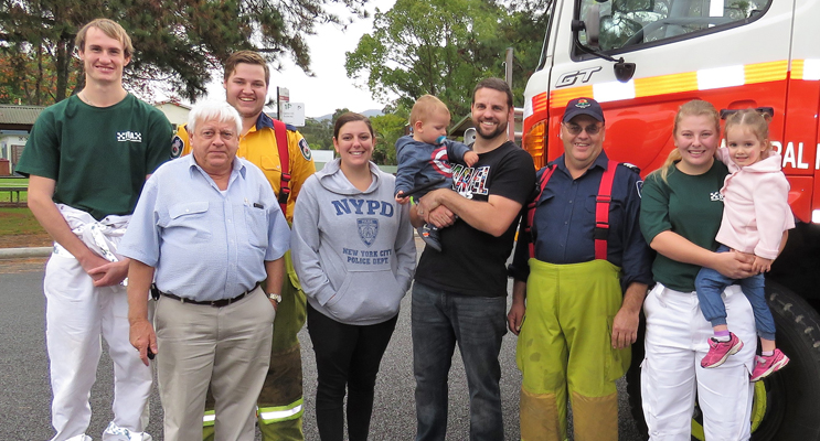 Community Support: VRA and RFS volunteers with Ash and Aleesha Ray.
