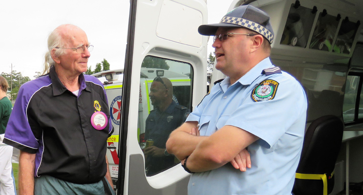 Lion Les Tattersall with Manning Great Lakes Crime Prevention Officer, Sn Constable Ray Slade.