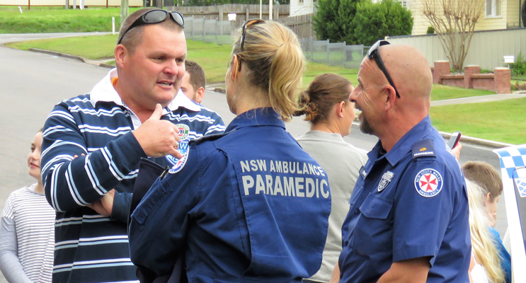 Blue Light support: Trevor Mcleod and local Paramedics enjoy the community afternoon.