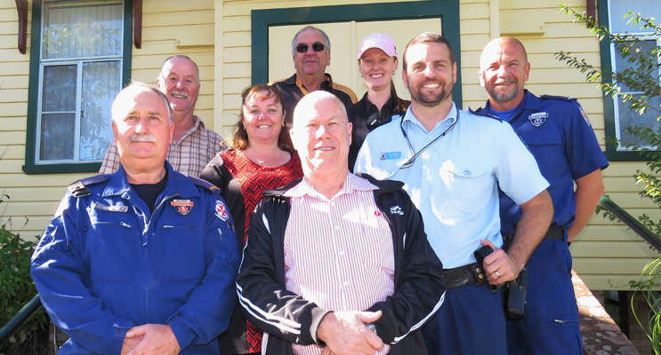 Working Together For Youth: Blue Light Support: Senior Constable Ash Ray, Paramedics Wayne Cook and Rod Paar, Lions Roger Dixon and Arthur Baker, BCS Deputy Principal Deb Gilbert with Stephen Smith and Jessica Gordon.