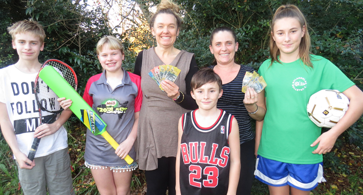 Jack, Maggie and Georgina Cunich and Belinda, Corey and Amber Cunningham, welcome the $100 sports rebate.
