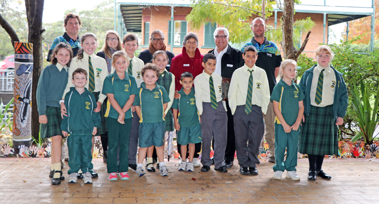 The special guests at the official opening of the Cultural garden, with some of St Brigid's Indigenous students.