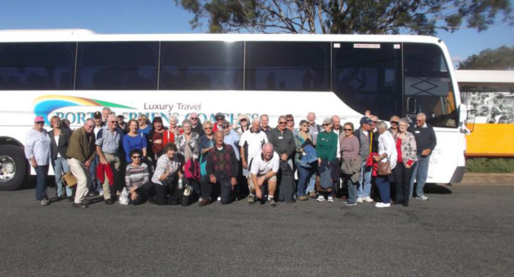 Nelson Bay Men's Probus Club and their partners ready to hit the road.