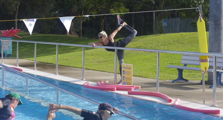 Suellen Goyne of Belgravia Leisure leading at class at Tomaree Aquatic Centre.