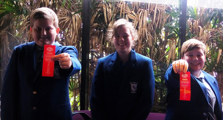 Year 8 Debating Team: Saxon Bramble, Seleana Murphy and Harry Cole. Photo: BCS