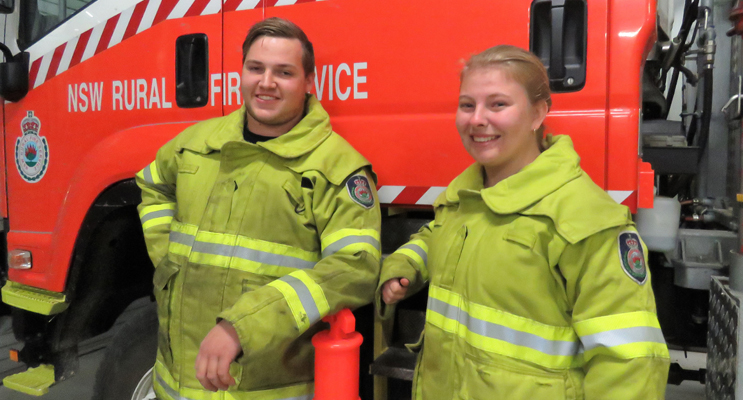 Stay Safe: Bulahdelah RFS members Jake Blanch and Meagan Terry urge residents to make winter home safety a top priority.
