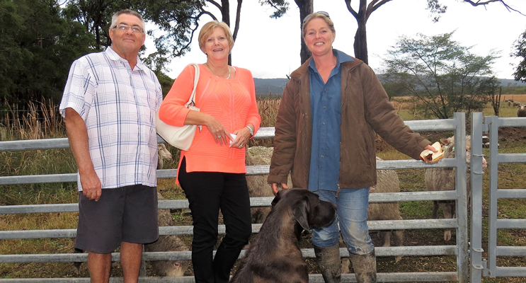 Jim and Kay Levey from Tea Gardens with Julie Steepe and Sarge the dog at Lucy Land Merino Farm.