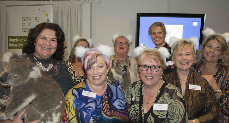 Federal Member for Paterson Meryl Swanson with volunteers from Port Stephens Koalas. Photo by Square Shoe Photography.