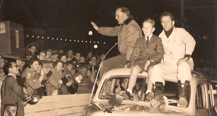 20,000 turn out to celebrate Gelignite Jack's Redex win with Jack Murray,  author Phil Murray's brother John, aged 10, and Bill Murray (no relation), co-driver and navigator.  From the Murray Family Archives.