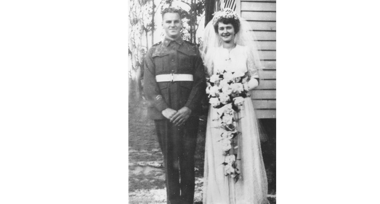 Jack Ireland proudly wore his service uniform when he married Thora Macpherson in 1944.