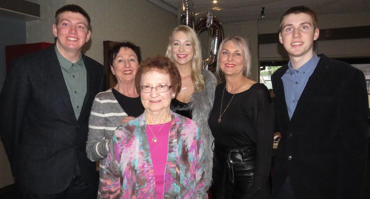 Joan Cheers with her grandson Hugh Fergusson, daughter Karen Cheers, granddaughter Isabella Fergusson, daughter Kerrie Fergusson and grandson Quinn Fergusson.