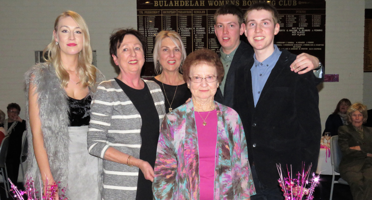 Joan Cheers with her granddaughter Isabella Fergusson, daughters Karen Cheers and Kerrie Fergusson and grandsons Hugh and Quinn Fergusson.