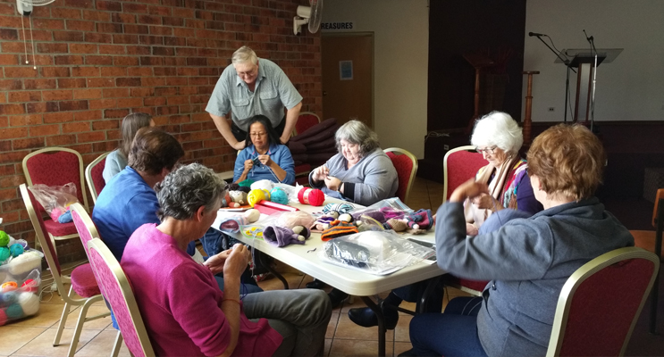 The knitters hard at work on their fairies.