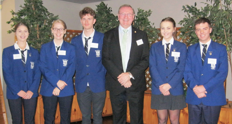 BCS Captain Kaitlyn Gregory and Vice-Captains Bianca Mason, Tate Bruinsma, Taylor Garemyn and Tom Locke with Myall Lakes MP Stephen Bromhead. Photo: BCS