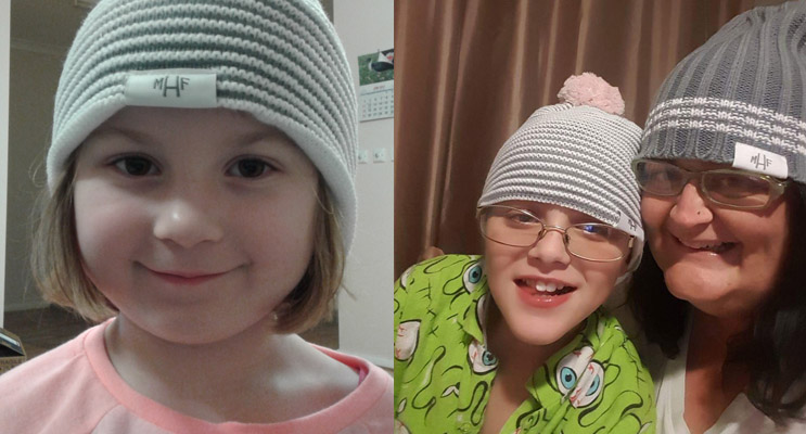 Young Ashley was excited to grab a beanie before they sold out.  (left) Lorcan and Kylie are proud supporters of the Mark Hughes Foundation. (right)