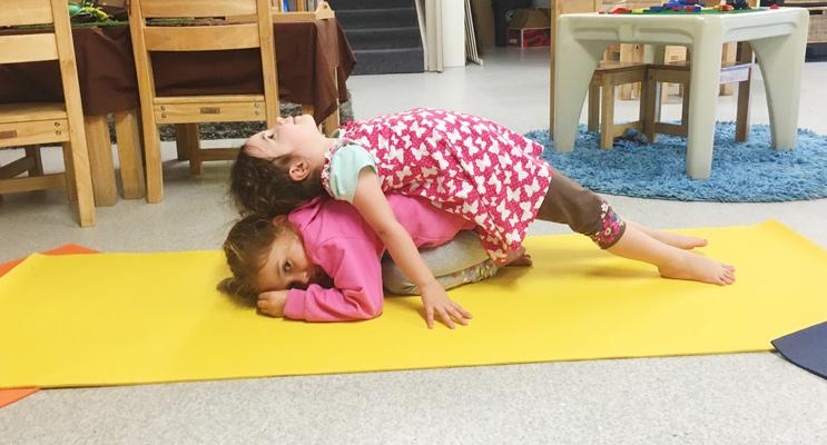 Ella and Kaylee showing their yoga skills.