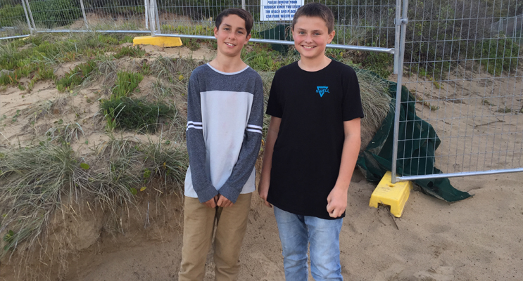 Samuel Finn and Jackson Warburton in front of the new Lifeguard Facility site.  Photos by Jo Finn