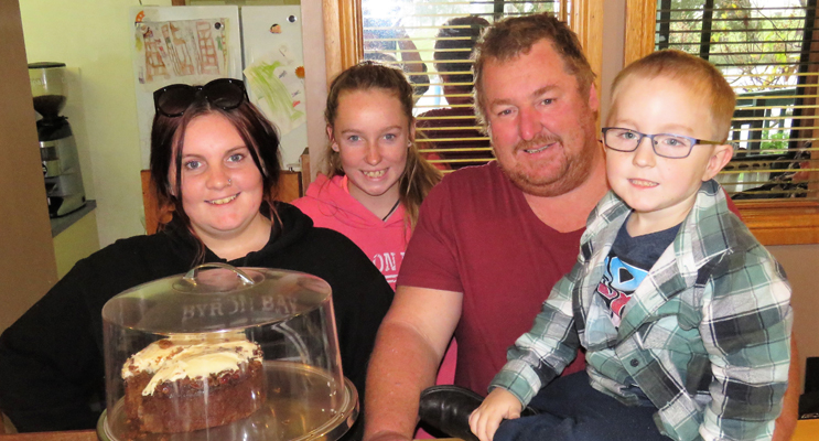 Family Business: Troy Harvey and his children Maddie, Rylee and Kai at the Riverside Cafe.