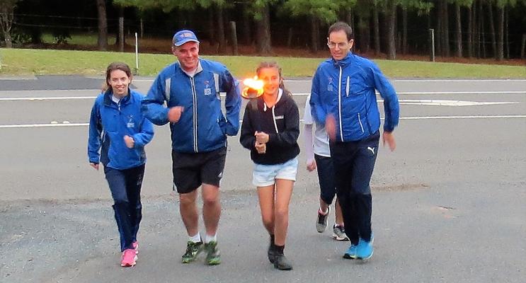 Carol Poniris leads the Peace Run into Bulahdelah.
