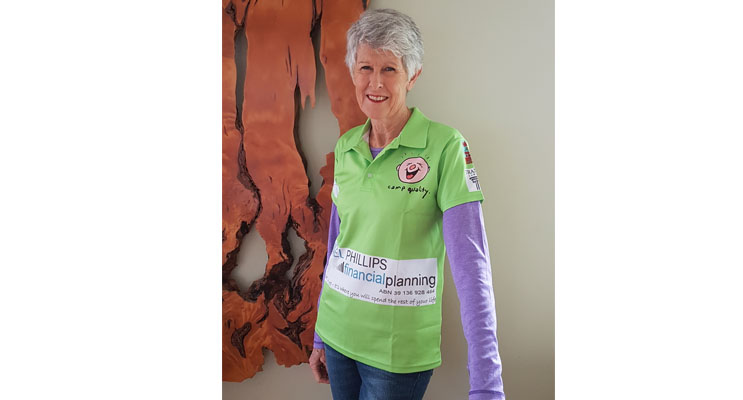 Carol Compton ready for the trek to raise money for Camp Quality. By Sarah STOKES