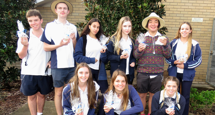 Act Of Kindness: Year 12 students deliver a message of thanks to the community.