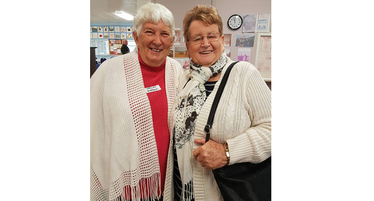 FRIENDS REUNITE: Neighbors Carolyn Burrows and Shirley Kirk.