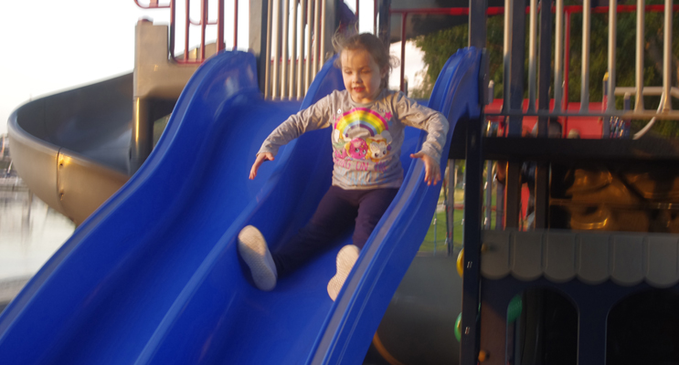 Jessica Kerrie enjoying the play equipment on the Nelson Bay Foreshore.