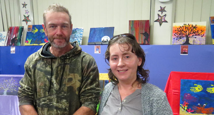 Ross Grey and Melissa Verdich at St Joseph's Art and Cultural Evening.