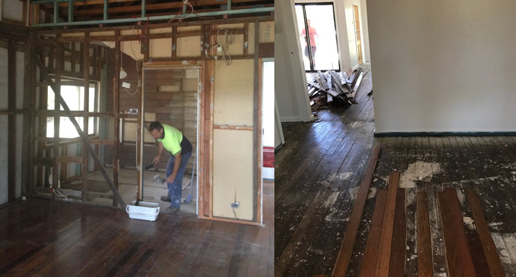 Stripping the walls back to bare bones to restore to its former glory. (left) Restoring 100-year-old original floorboards. (right)