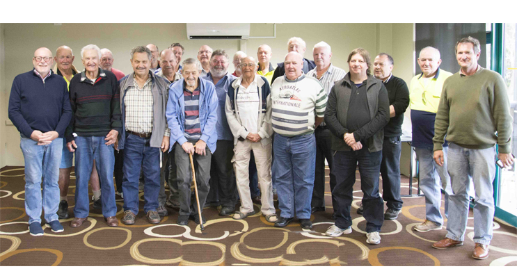 Past and present members of Salamander Bay Men's Shed.  Photo by: Square Shoe Photography