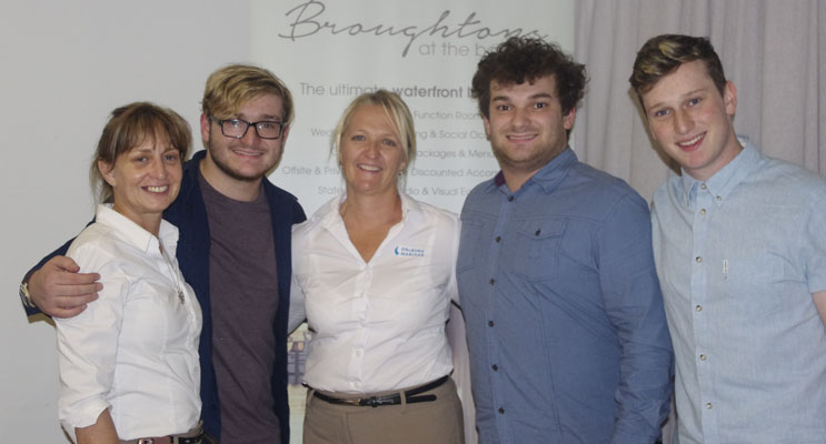Broughtons team members Seva Kiprioti and Deb Stretton with X Factor favourites Brothers3.
