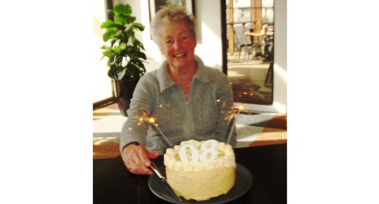 Doreen Leatham with her birthday cake.