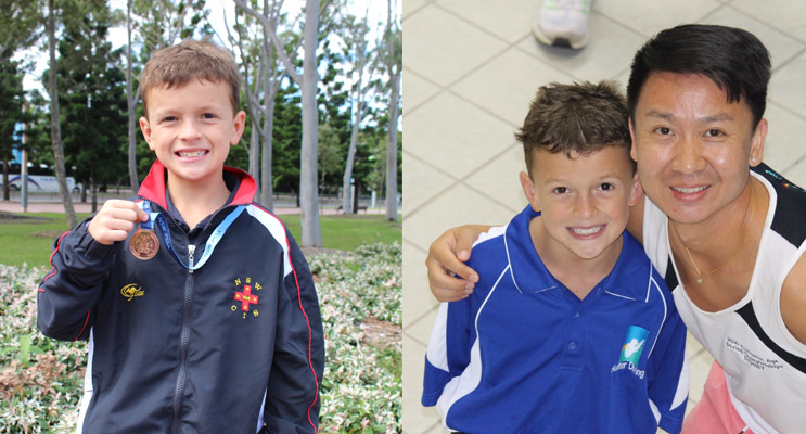 Joshua Lee, eager young sportsman. (left) Joshua Lee with his current Coach, Jie Tang, at Lambton Pool. (right)