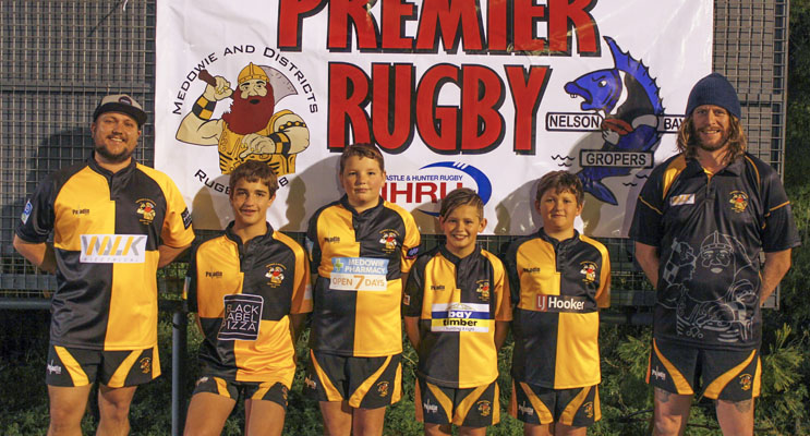 Representatives across the grades of Medowie Rugby - Reece Montgomery,  Chris Woodfield, Lachlan Murphy, Blake Green, Murray Woodfield and Eric Tolhurst.  Photo by Danielle Underwood