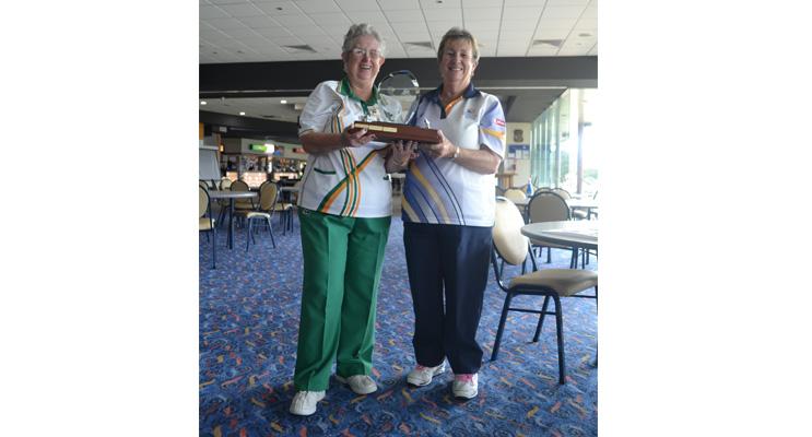 Presenting Trophy: Lemon Tree Passage Club President Annette Zoutendijk receiving trophy from Robyn Webster.