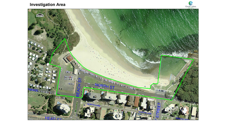 The aerial photograph shows the area that is included in the Main Beach rejuvenation project.