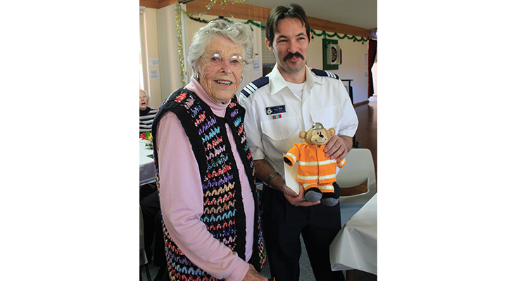 June Bennett, 99 years old, with Dean Nunn, Captain RFS Fingal Bay.