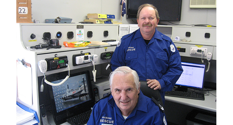 Ian Hollings (seated) with Richard Osborne at the base station