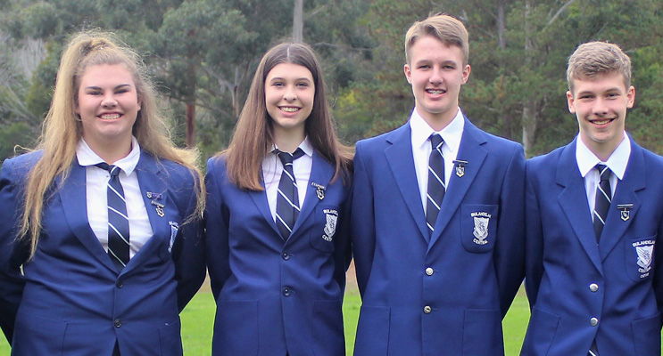 School Leaders: Katie Nolan, Maddison Boyd, Luke Rochester and Zac Fletcher.