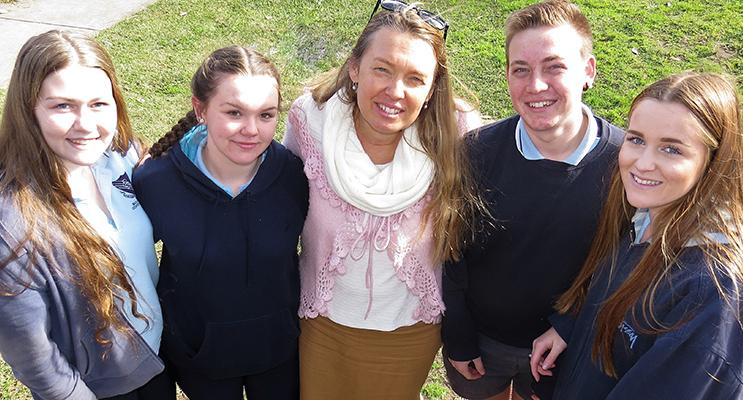 Year 10 SRC Representatives Ashleigh Dorney, Molly Perry, Liam Garemyn and Charlotte Collins, with Ms Georgina Cunich.