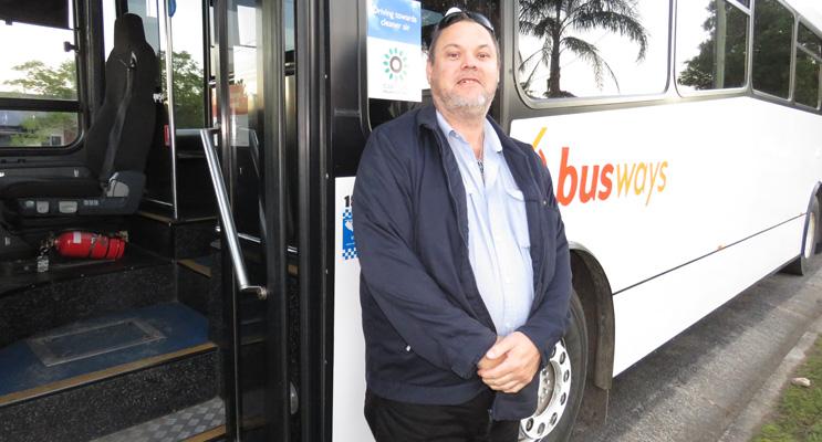 School Bus Safety: Busways driver Rod Lansdowne welcomes the seatbelt blitz.