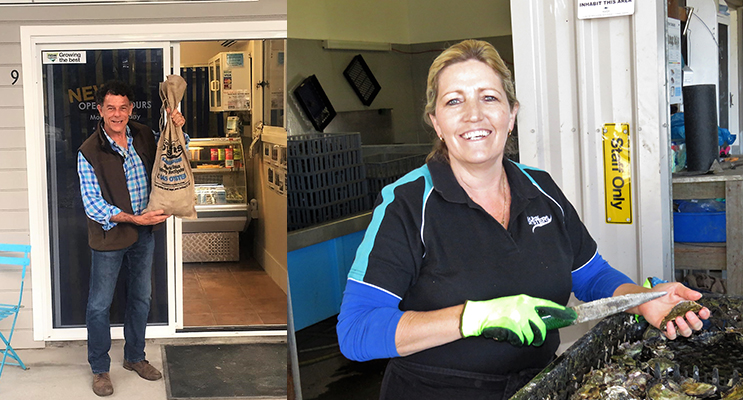 Mike Whitney at Cole Bros Oysters in Karuah. Photo: Supplied (left) Tina Cole is looking forward to the Port Stephens Love Seafood Festival. (right)