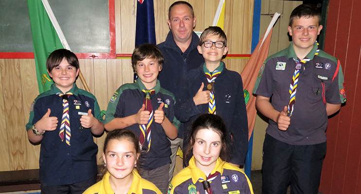 Funds For Canoes: Scouts Connor Baker, Reef Mirisch, Ethan Griffis, Jayden Watling, Izabell Read and Elise Miles with Leader Colin Giffis.